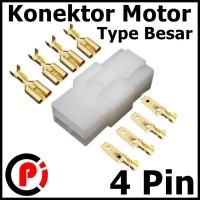 Connector Motor Besar 6mm 4 Pin 4P Plus Skun Set Soket Konektor