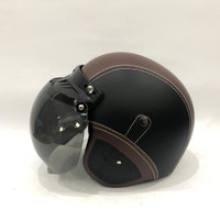 Helm Retro Kulit GTR Black Caramel + Kaca