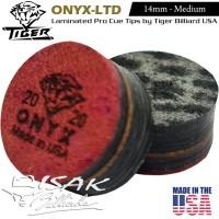 Onyx Ltd Cue Tip by Tiger USA - 14mm Layer Kepala Stick Billiard Pool