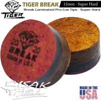Tiger USA Break Cue Tip - 15mm Super Hard Kulit Lapis Stick Billiard