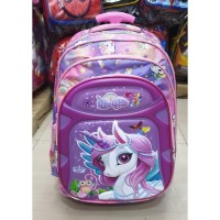 Tas Trolley Dorong Anak Perempuan SD UNICORN IMBOS Timbul 3Res PURPLE