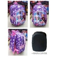 Tas Trolley Dorong Anak Perempuan SD FROZEN GLOSSY Timbul + RAIN COVER