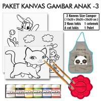 Paket Gambar Lukis Anak 3 Lengkap Kanvas Kuas Palet Celemek Cat