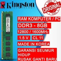 Promo Ram Pc Kingston Ddr3 8Gb 12800 / 1600Mhz Ori Ram Komputer Ram Pc