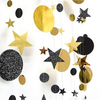 Star mix Round 2 warna Party Garland Metalik 4 meter