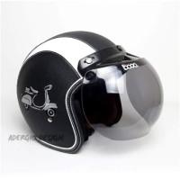 Helm Bogo Dewasa SNI - Full Kulit Motif Vespa Hitam List Putih - JP Smoke