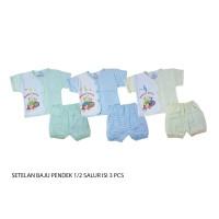 1 set 3 stelan baju pendek bayi/kaos 3-6bln YENORA
