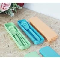 set alat makan korea gandum plastik portable TERMURAH random warna