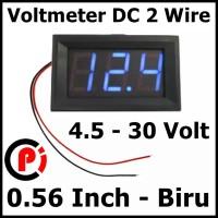 """Digital 2 wire DC Voltmeter 4.5-30v 0.56"""" Frame Volt Meter Biru"""
