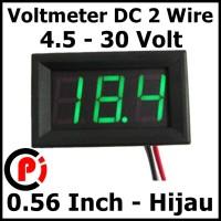 Digital 2 wire DC Voltmeter 4.5-30v 0.56 Inch Frame Volt Meter Hijau