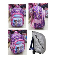 Tas Trolley Dorong Anak Perempuan SD Frozen EMBOS TimbuL + RAIN COVER
