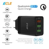 ECLE Adaptor Charger Fast Charging 3 USB Port Quick Charge QC 3.0