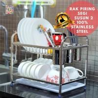 Rak Piring Segi 2 Susun 100% Stainless Steel DNG