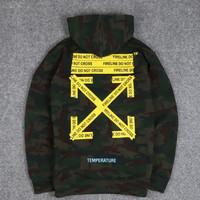 Sweater Hoodie Off White Cross Camo Import Premium Quality/Jaket Pria