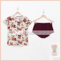 Lunaci Merlot Cream Floral Short Pyjamas