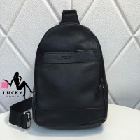 Coach Charles Pack Sling Bag Smooth Full Leather - Black