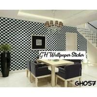 Home Wallpaper Sticker Dinding Catur Putih Hitam - 45cmX 10 m Walpaper