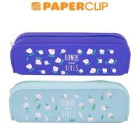 PEN CASE / TEMPAT PENSIL SILICON FLOWERS GIRLS LANGUO LG-30273