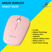 Mouse Wireless Robot M220 Optical Mouse Komputer PC Laptop - Pink
