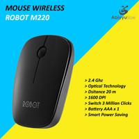 Mouse Wireless Robot M220 Optical Mouse Komputer PC Laptop - Hitam