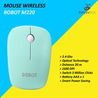 Mouse Wireless Robot M220 Optical Mouse Komputer PC Laptop - Hijau