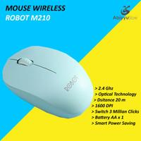 Mouse Wireless Robot M210 Optical Mouse Komputer PC Laptop - Hijau