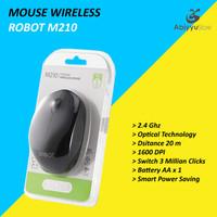 Mouse Wireless Robot M210 Optical Mouse Komputer PC Laptop - Hitam