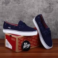 Sepatu Vans Zapato Japato Navy Blue White Biru Putih Gingham Flanel