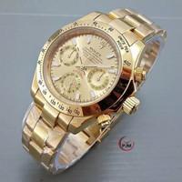 Jam Tangan Pria / Cowok Rolex Daytona Gold Rantai Automatic - Gold