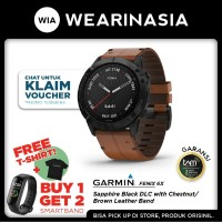 Garmin Fenix 6X Smartwatch Black DLC Brown Band Garansi TAM 2 tahun