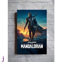 Poster kayu hiasan dinding TANPA FRAME film Star Wars The Mandalorian