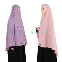 SIZE L Alsyahra Jilbab Syari Long Khimar Non Pet Bonus Niqab Bandana