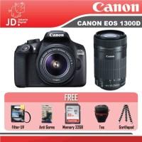 CANON EOS 1300D Kit 18-55mm II + Lensa CANON 55-250mm PAKET MURAH