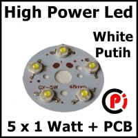 High Power Led 5W Seri Putih 6500k White Solder PCB Aluminium Heatsink