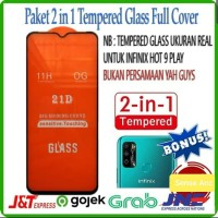 Tempered Glass 9D INFINIX HOT 9 PLAY + Tg Lensa Camera 2in1