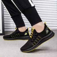 Marelow - Sepatu Sneakers Pria Casual - SNK7006 - Black Yellow,40