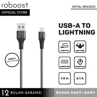 roboost Kabel Data iPhone 5s 6 6s 7 8 Plus Fast Charging Metal Braided