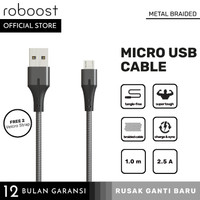 roboost Kabel Data Fast Charging Micro USB 2.5A Metal Braided 1m