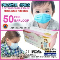 Masker Anak 3 Ply Earloop Disposable 3Ply NO Medis Bedah Surgical Mask