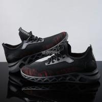 Sepatu Sneakers Remix Vol 10 Running Shoes Sports Fashion Larocking - Hitam Merah, 39