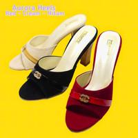 Sepatu Wanita Trompa Fashionable Aurora Heels Hak 9cm - Hitam, 35