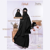 French Khimar Gamis Set Cadar Shakha by Maera - Black, S
