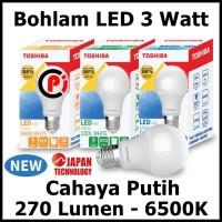 Toshiba Bohlam Lampu LED Cahaya Warna Putih 3 Watt 3W Hemat Energy