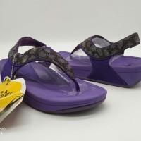 SALE ! Sendal Wanita Fitflop Leaf Leopard Tali Purple