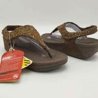 SALE ! Sendal Wanita Fitflop Leaf Leopard Tali Gold