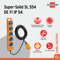 Brennenstuhl Super Solid SL554 DE FI 5Soket IP54 Kabel Outdoor -900805