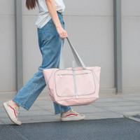 Korean Waterproof Foldable Travel Bag | Tas Belanja Lipat Tahan Air - Merah Muda
