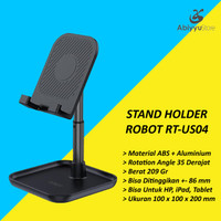 Stand Holder Tablet HP Robot RT-US04 | Docking Penyangga Ipad - Gelap