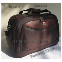 Tas Pakaian Travel Bag Polo Interclub 52x24x32cm ukuran sedang 100%ori - Cokelat