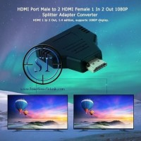 HDMI Splitter 2 Port Adapter Converter Male to 2 Female 1080p Portable